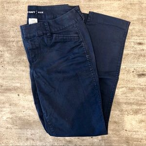 Navy blue pixie chino ankle pants